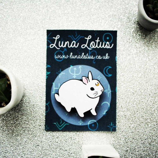 moon bunny wooden brooch