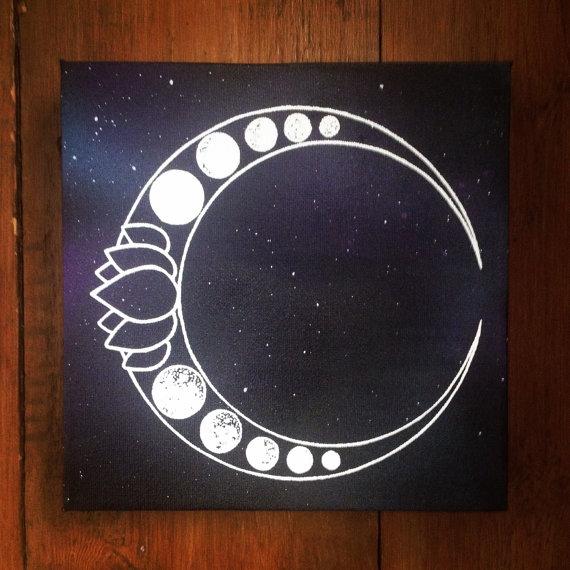 Luna Lotus Moon Phase Art