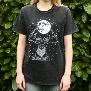Deer Moon Goddess T-Shirt Organic Cotton Black Acid Wash
