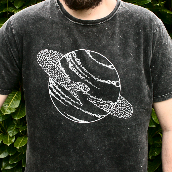Saturn Snake T-Shirt Organic Cotton Black Acid Wash