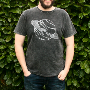 Saturn Snake T-Shirt Organic Cotton Black Acid Wash