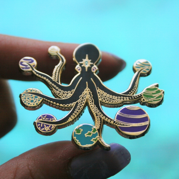 Space Octopus Hard Enamel Pin