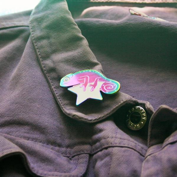 Cosmic Chameleon Rainbow Plated Enamel Pin