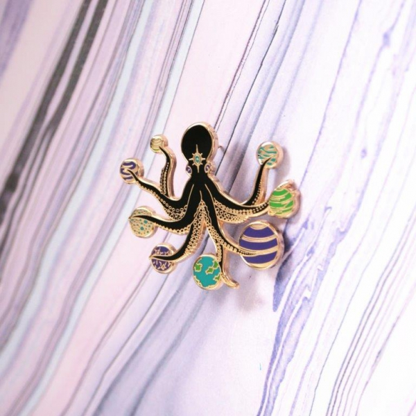 Space Octopus Enamel Pin