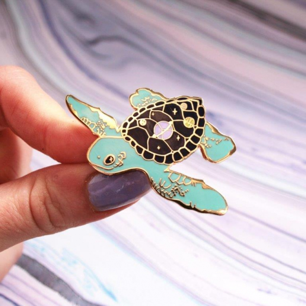Space Turtle Hard Enamel Pin Cosmic Planets