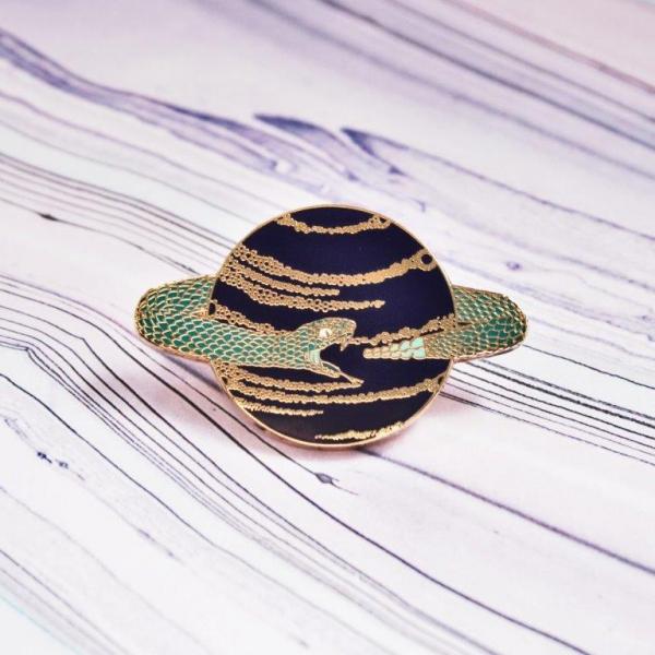 Space Snake Hard Enamel Pin Ouroboros