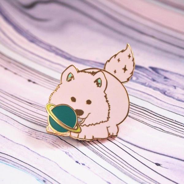 Space Puppy Hard Enamel Pin Pastel Kawaii Planet