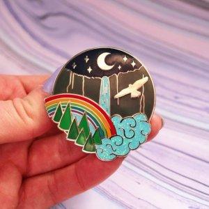Yosemite Moonbow Glitter Enamel Pin Rainbow Yosemite Falls