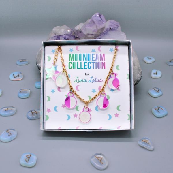 Moonbeam Necklace Iridescent Moon Phase Jewellery