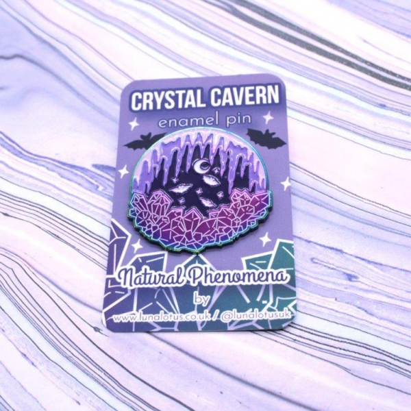 Crystal Cavern Rainbow Enamel Pin Bats Kawaii