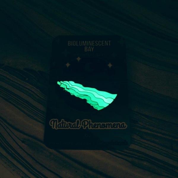 Bioluminescent Bay Hard Enamel Pin Glow in the Dark
