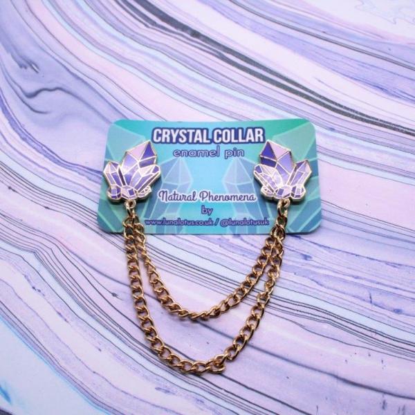 Crystal Collar Enamel Pin Chain