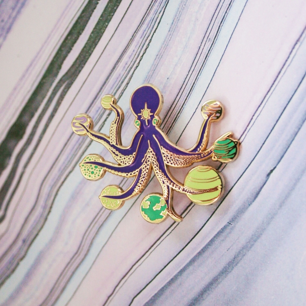 Space Octopus Enamel Pin Cosmic Edition