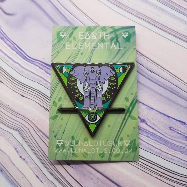 Elephant Moon Earth Elemental Pin