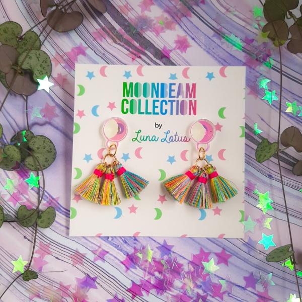 Luna Lotus Moonbeam Acrylic Stud Earrings